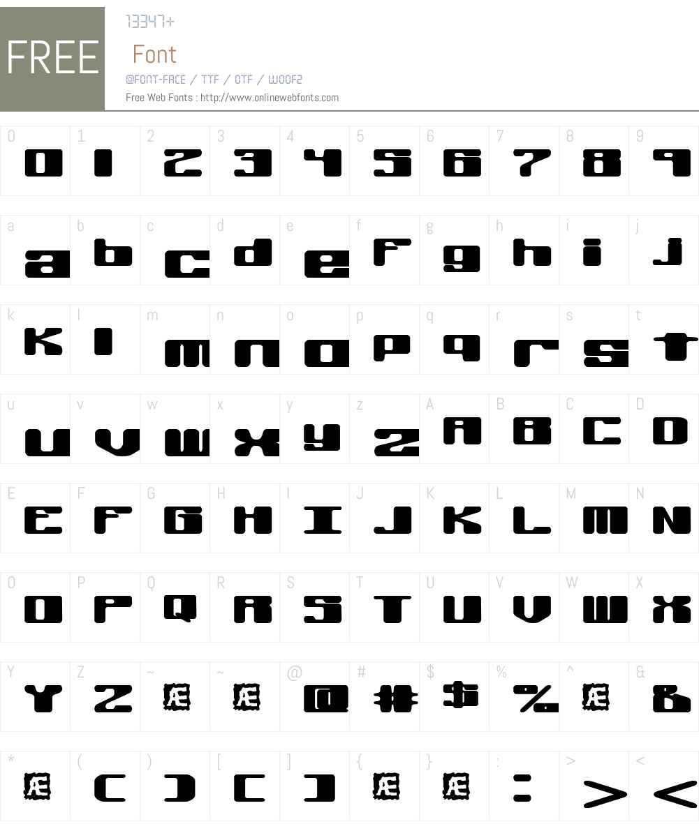Off Kilter R (BRK) Font Screenshots