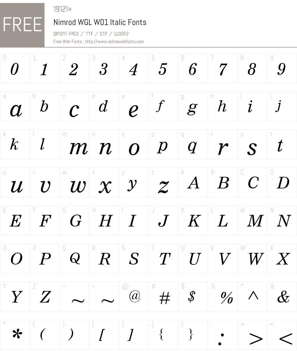NimrodWGLW01-Italic Font Screenshots