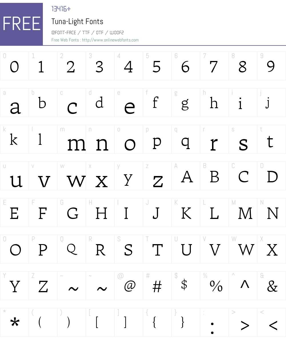Tuna-Light Font Screenshots