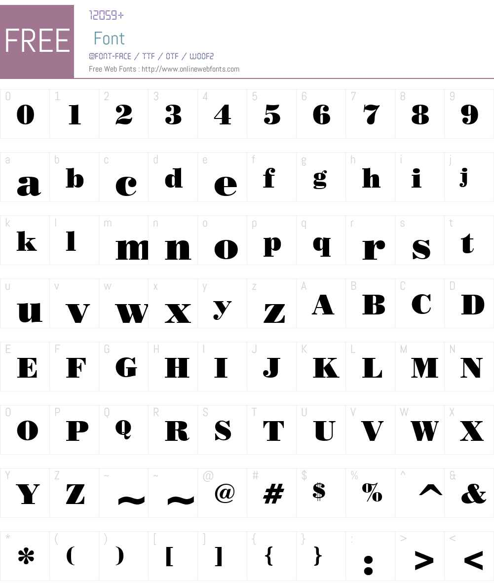 PosterBodoni BT Font Screenshots