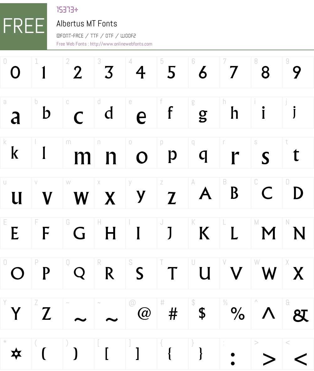 Albertus MT Font Screenshots