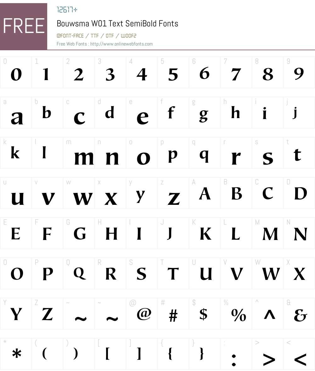 BouwsmaW01-TextSemiBold Font Screenshots