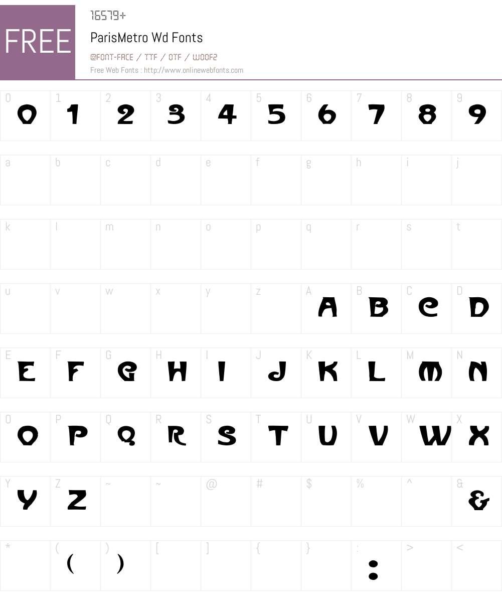 ParisMetro Wd Font Screenshots