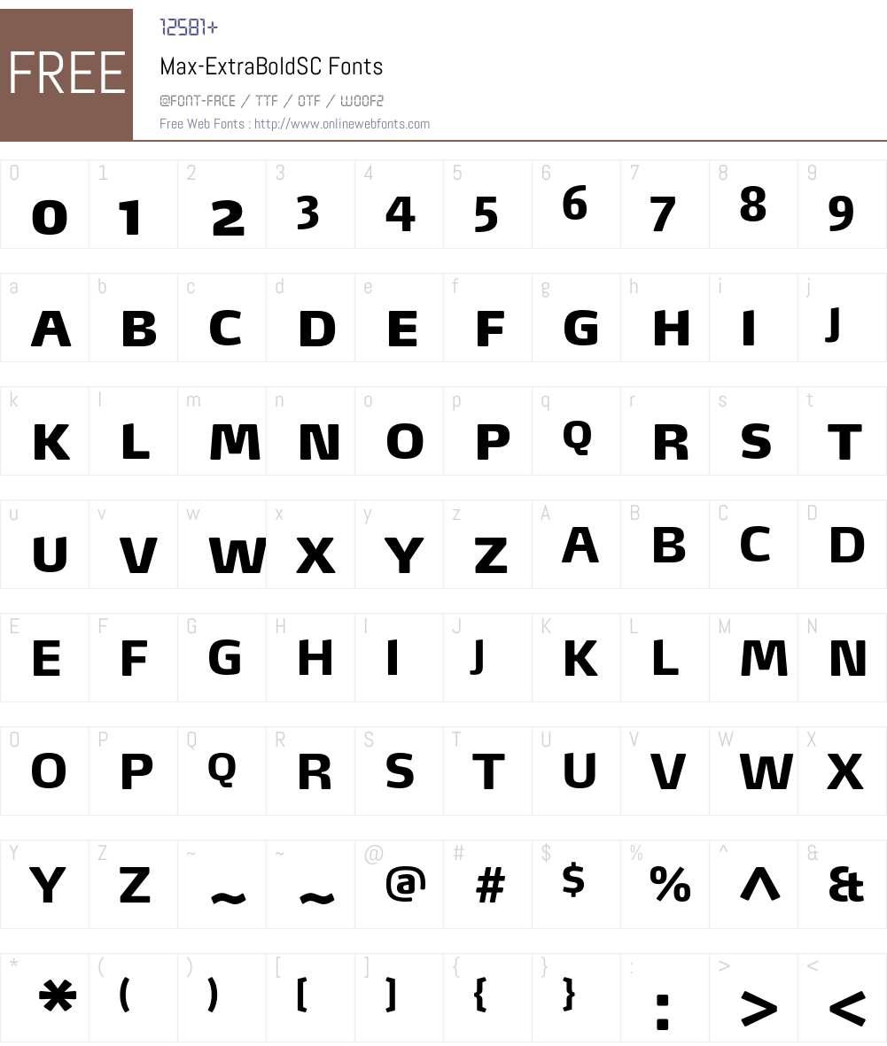 Max-ExtraBoldSC Font Screenshots