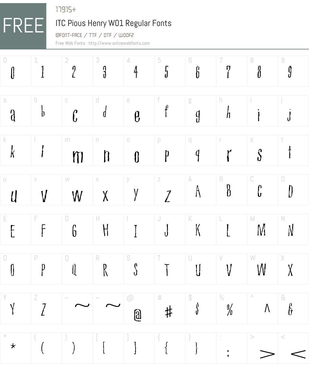 ITCPiousHenryW01-Regular Font Screenshots