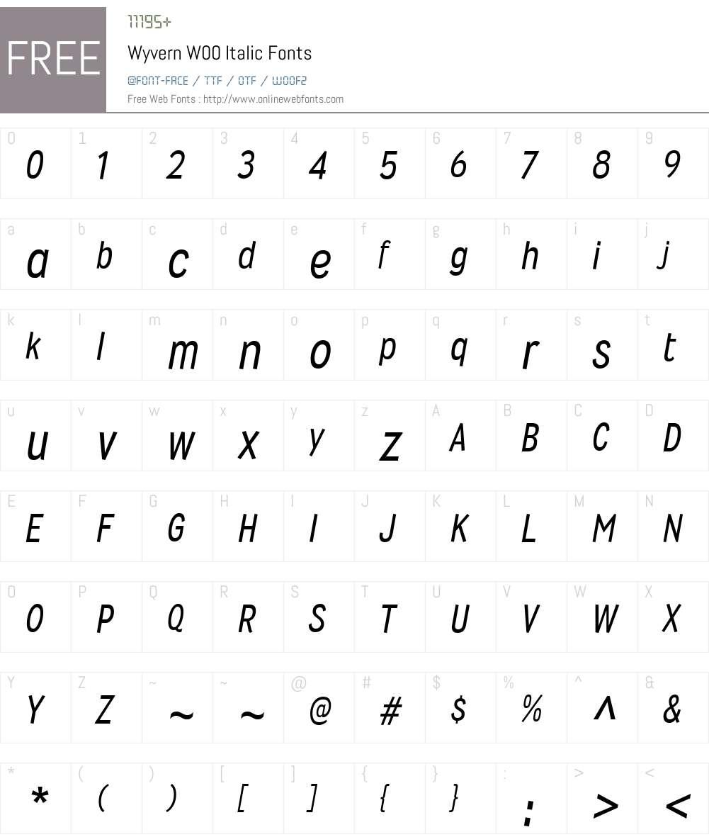WyvernW00-Italic Font Screenshots