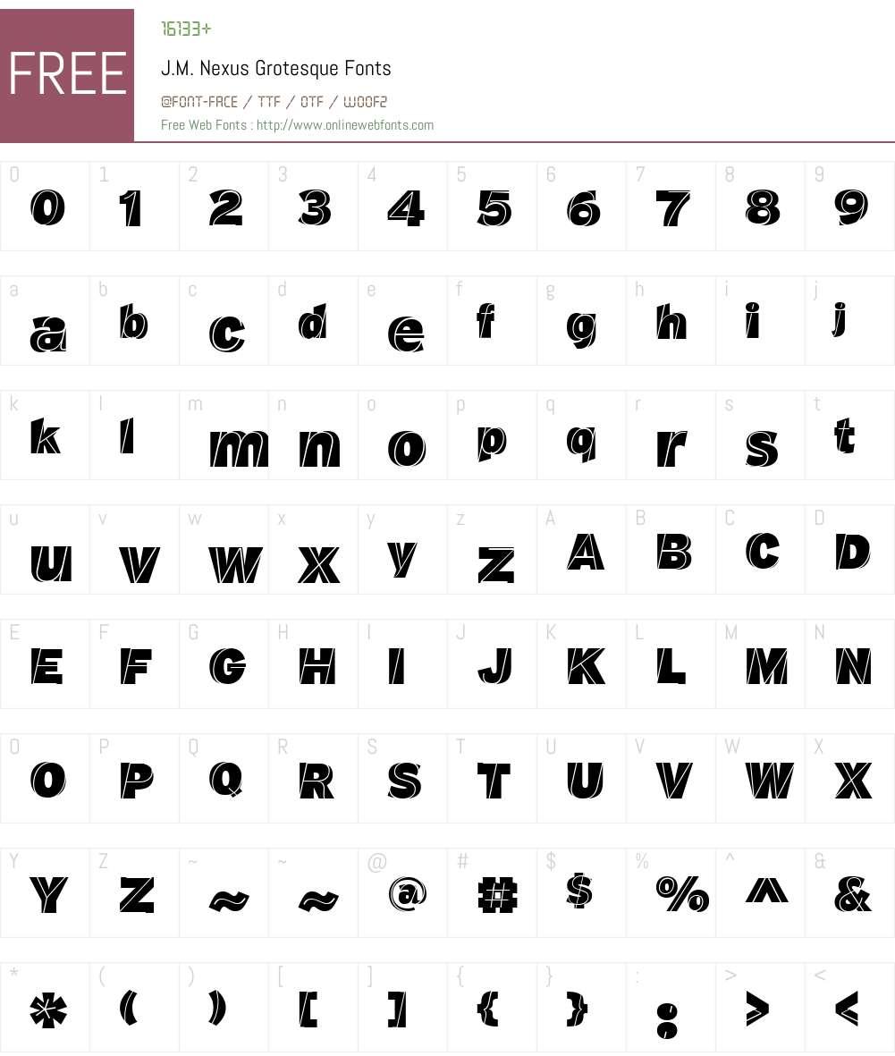 J.M. Nexus Grotesque Font Screenshots