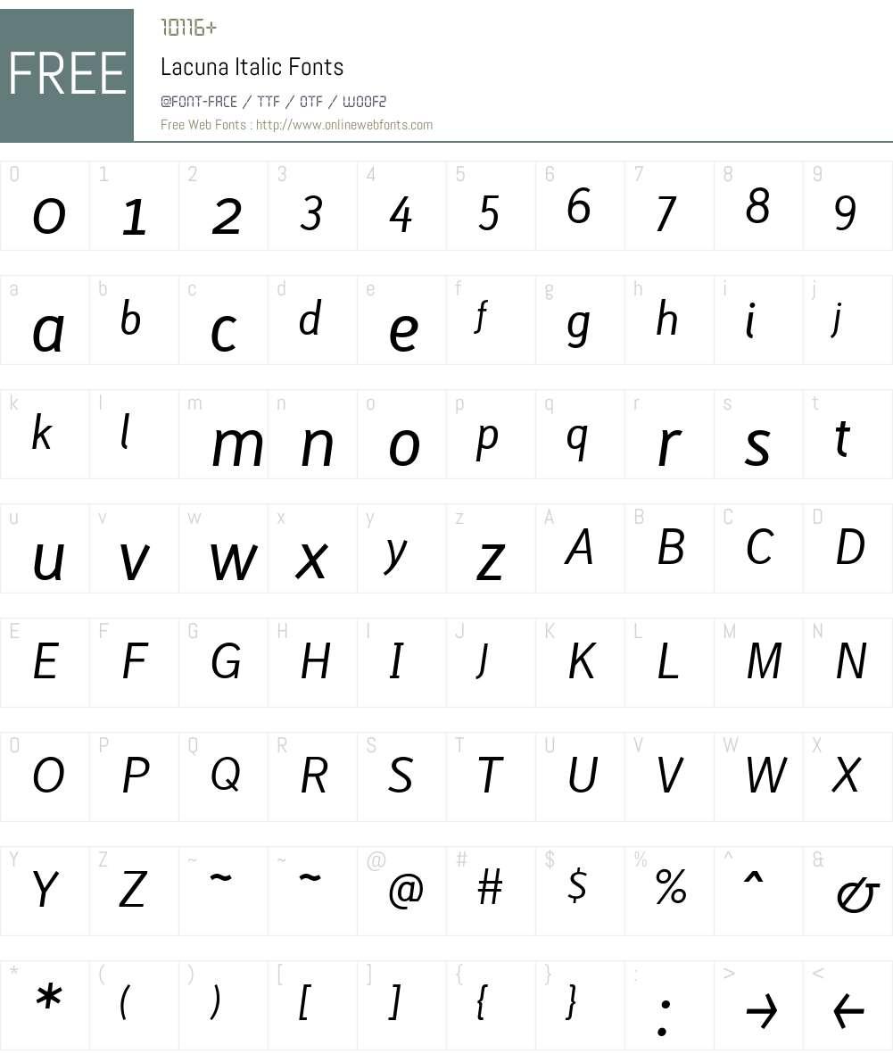 Lacuna Italic Font Screenshots