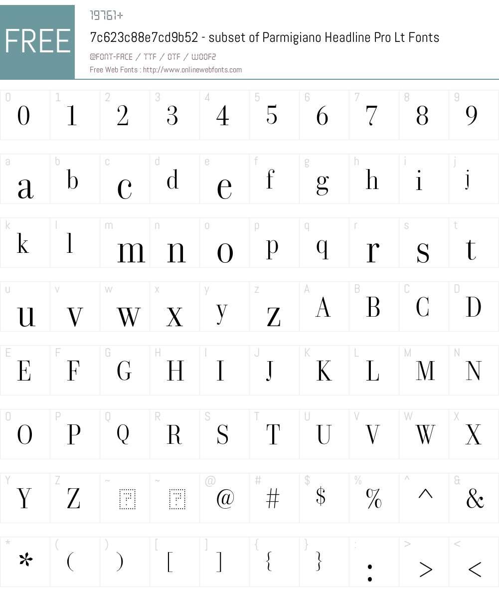 7c623c88e7cd9b52 - subset of Parmigiano Headline Pro Lt Font Screenshots