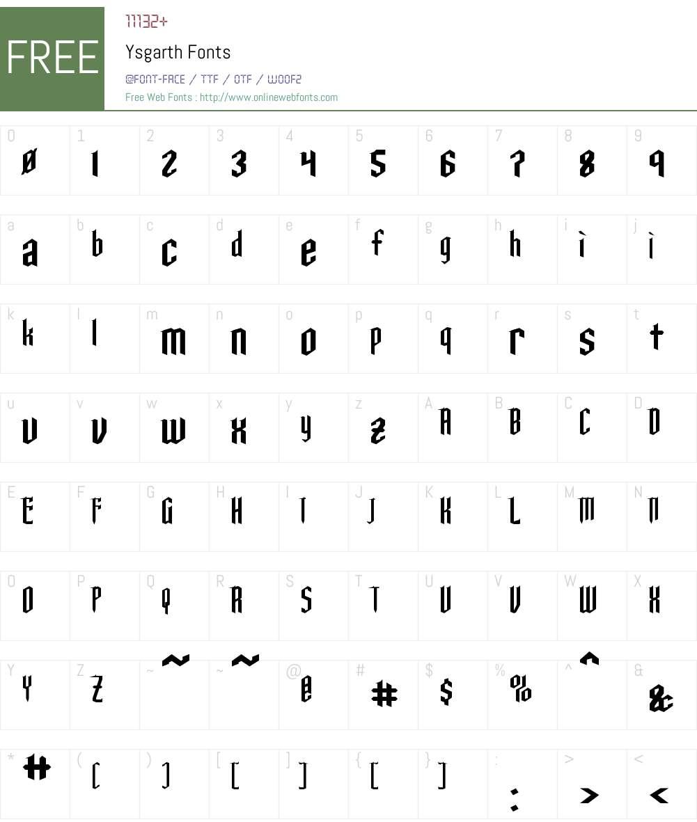 Ysgarth Font Screenshots