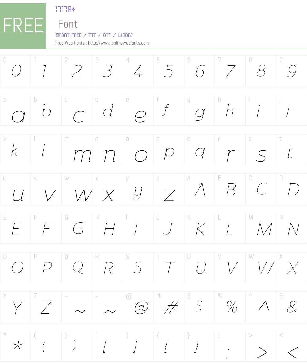 AinslieW01-ExtThinItalic Font Screenshots