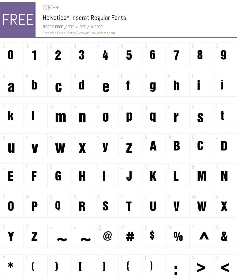 Helvetica Inserat BQ Font Screenshots