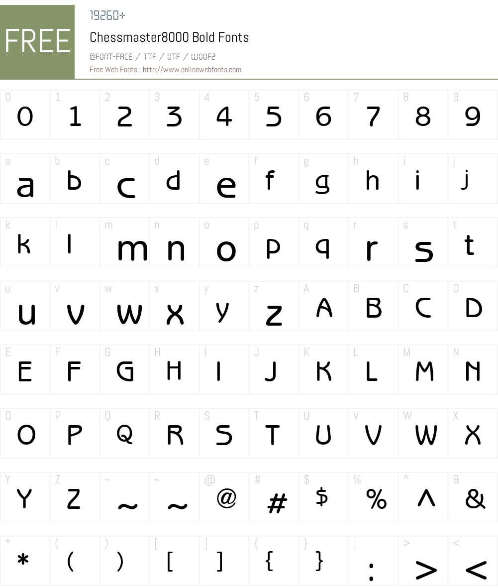 Chessmaster8000 Font Screenshots