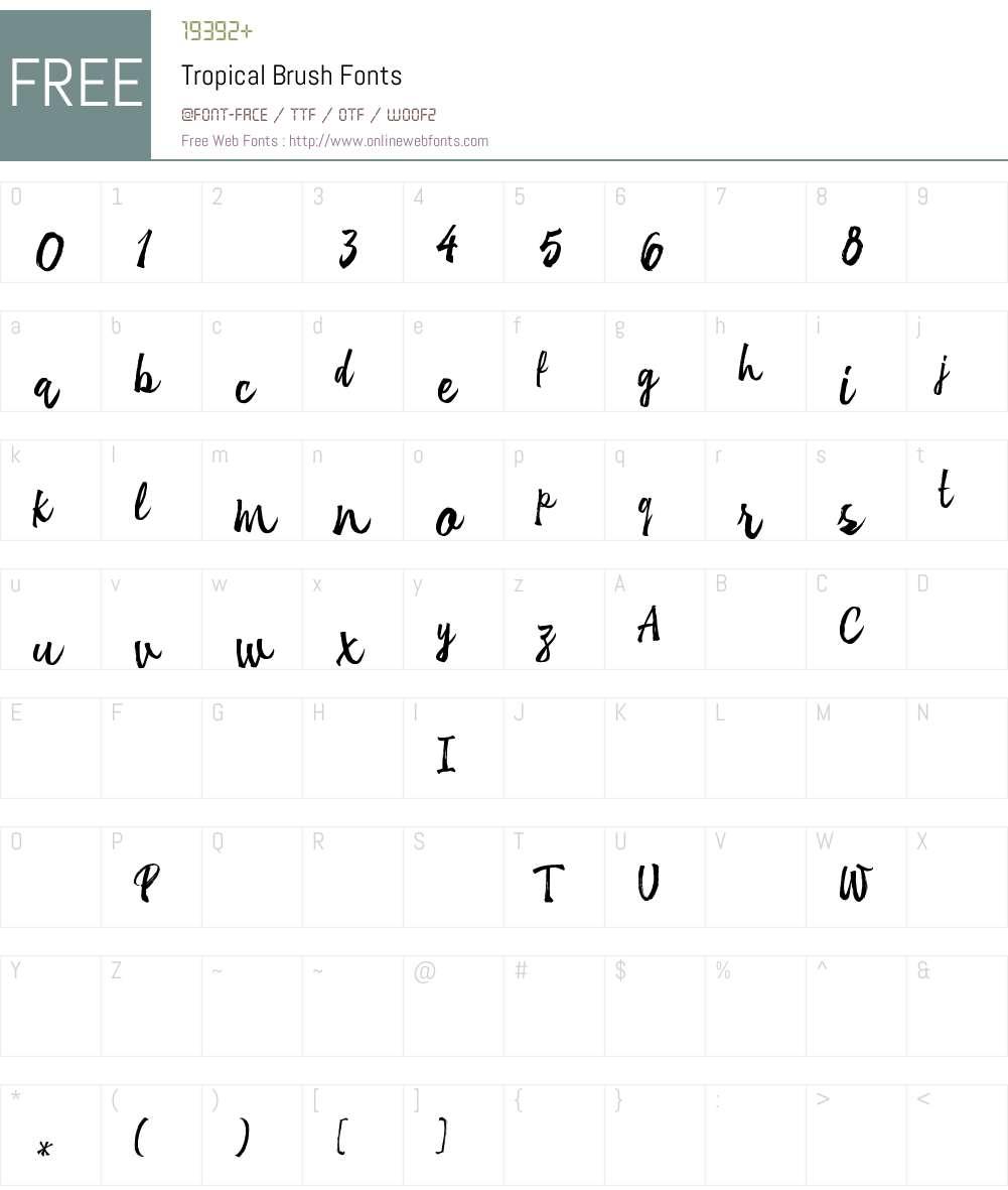 TropicalBrush Font Screenshots