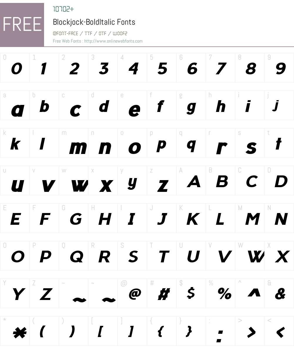 Blockjock Font Screenshots