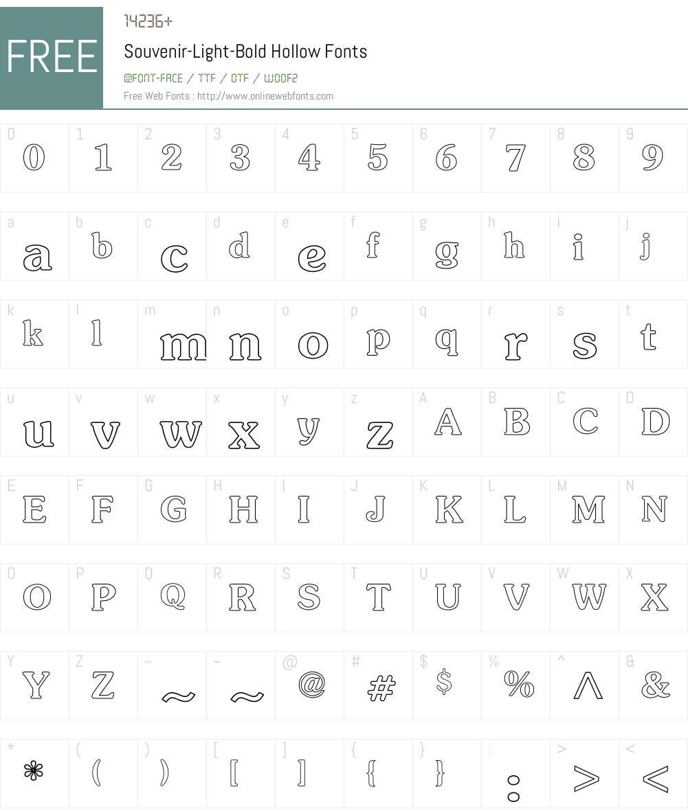 Souvenir-Light-Bold Hollow Font Screenshots