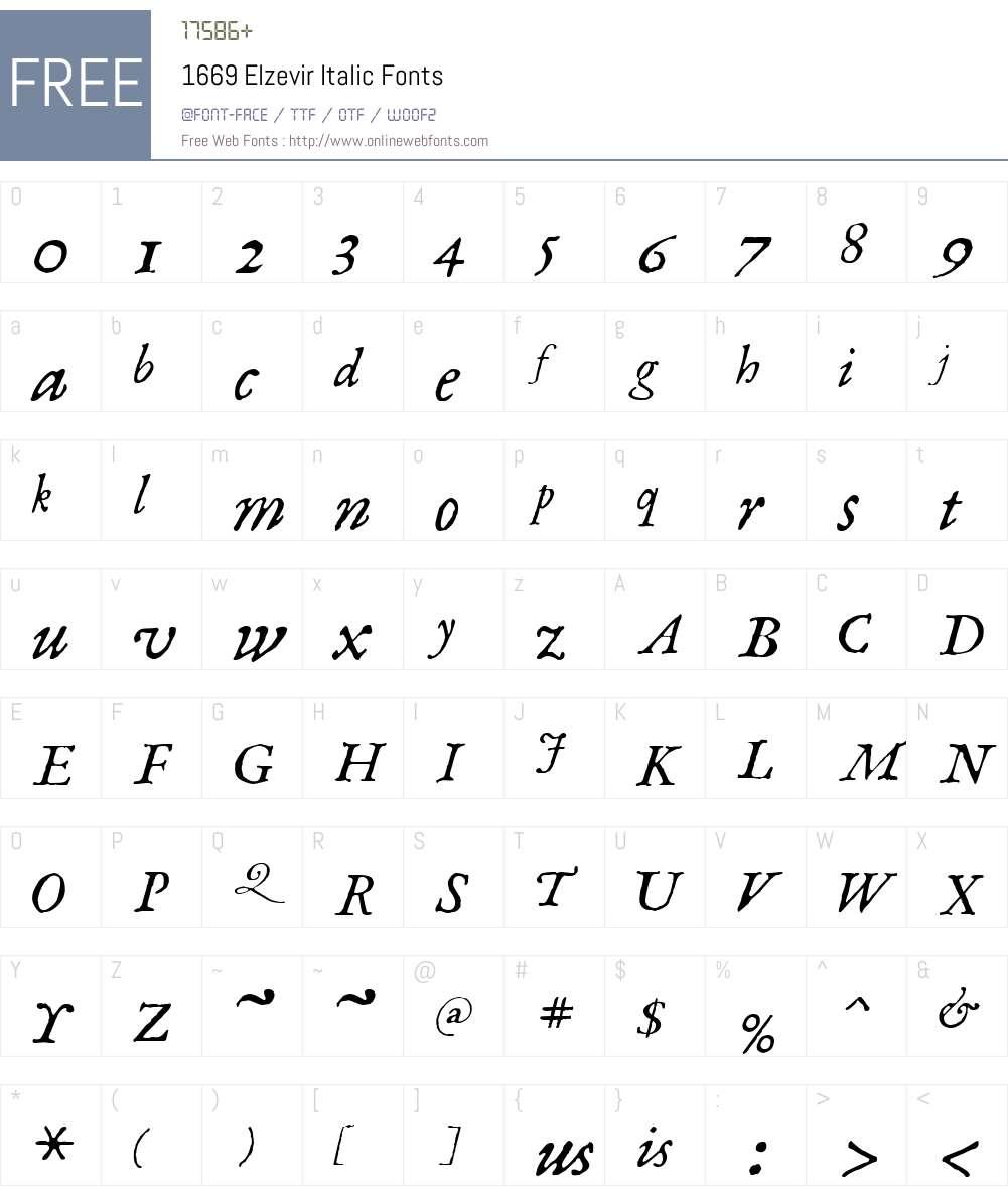 1669ElzevirItalic Font Screenshots