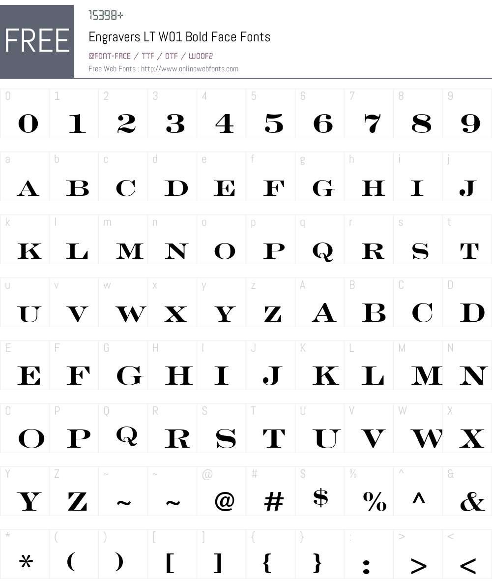 EngraversLTW01-BoldFace Font Screenshots