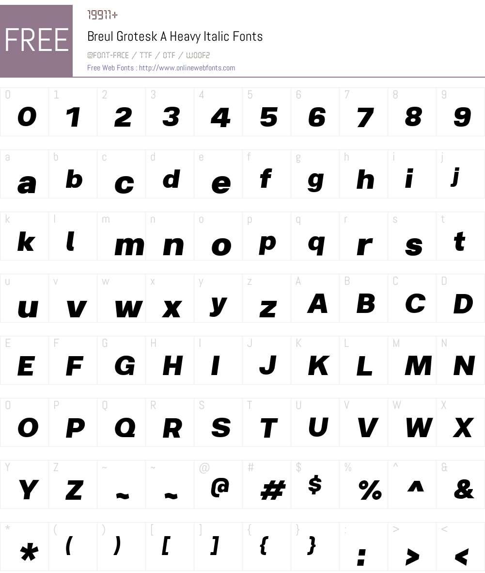 BreulGroteskA-HeavyItalic Font Screenshots