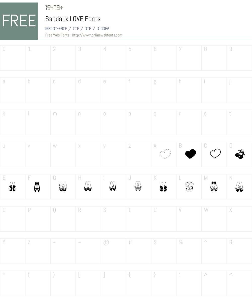 Sandal x LOVE Font Screenshots