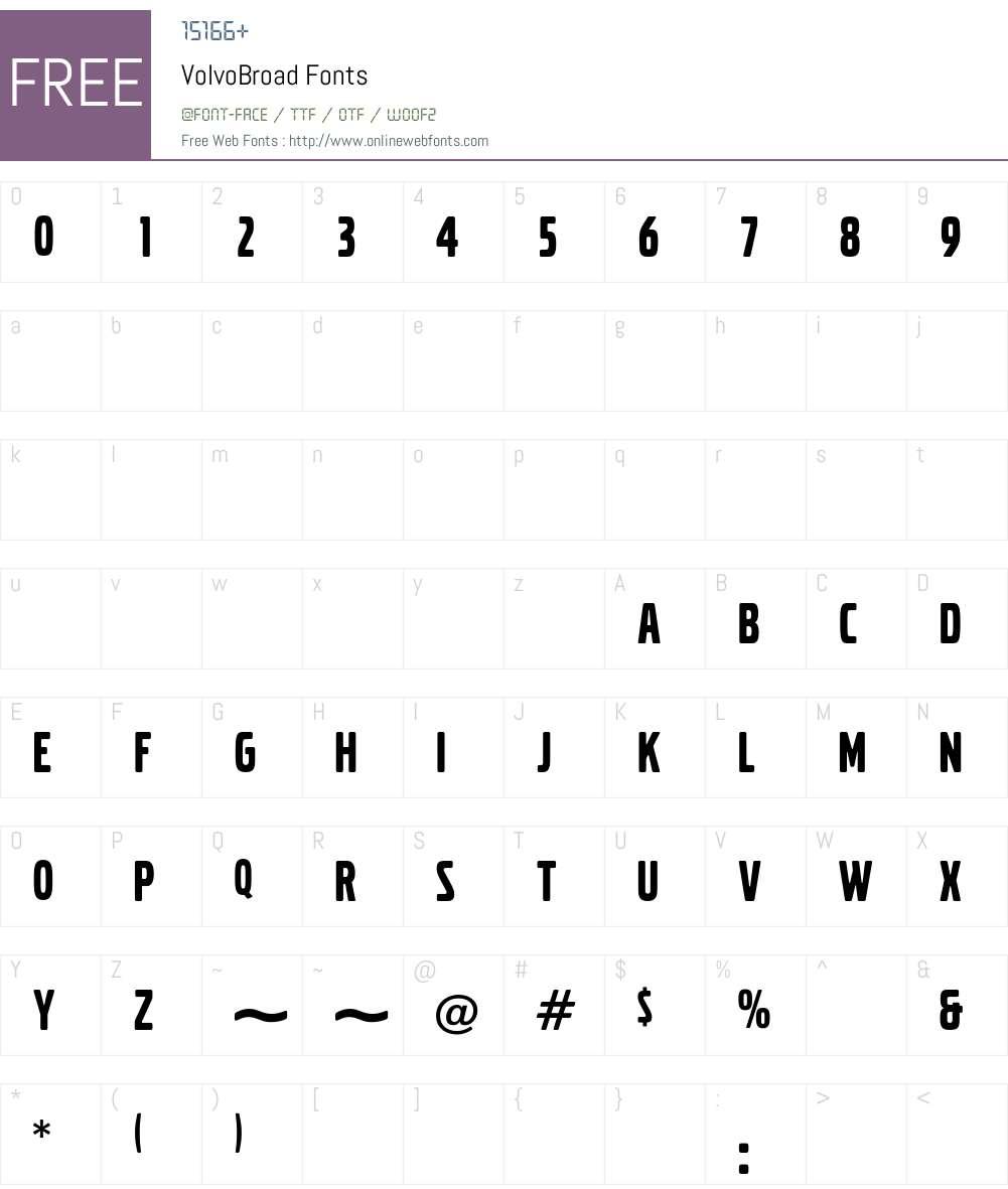 VolvoBroad Font Screenshots