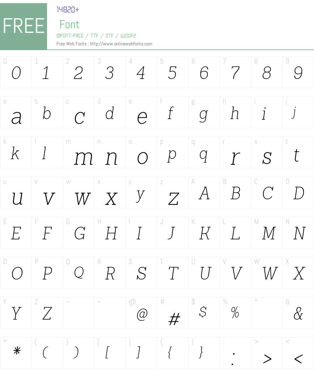 Sanchez Condensed ExtraLight Font Screenshots
