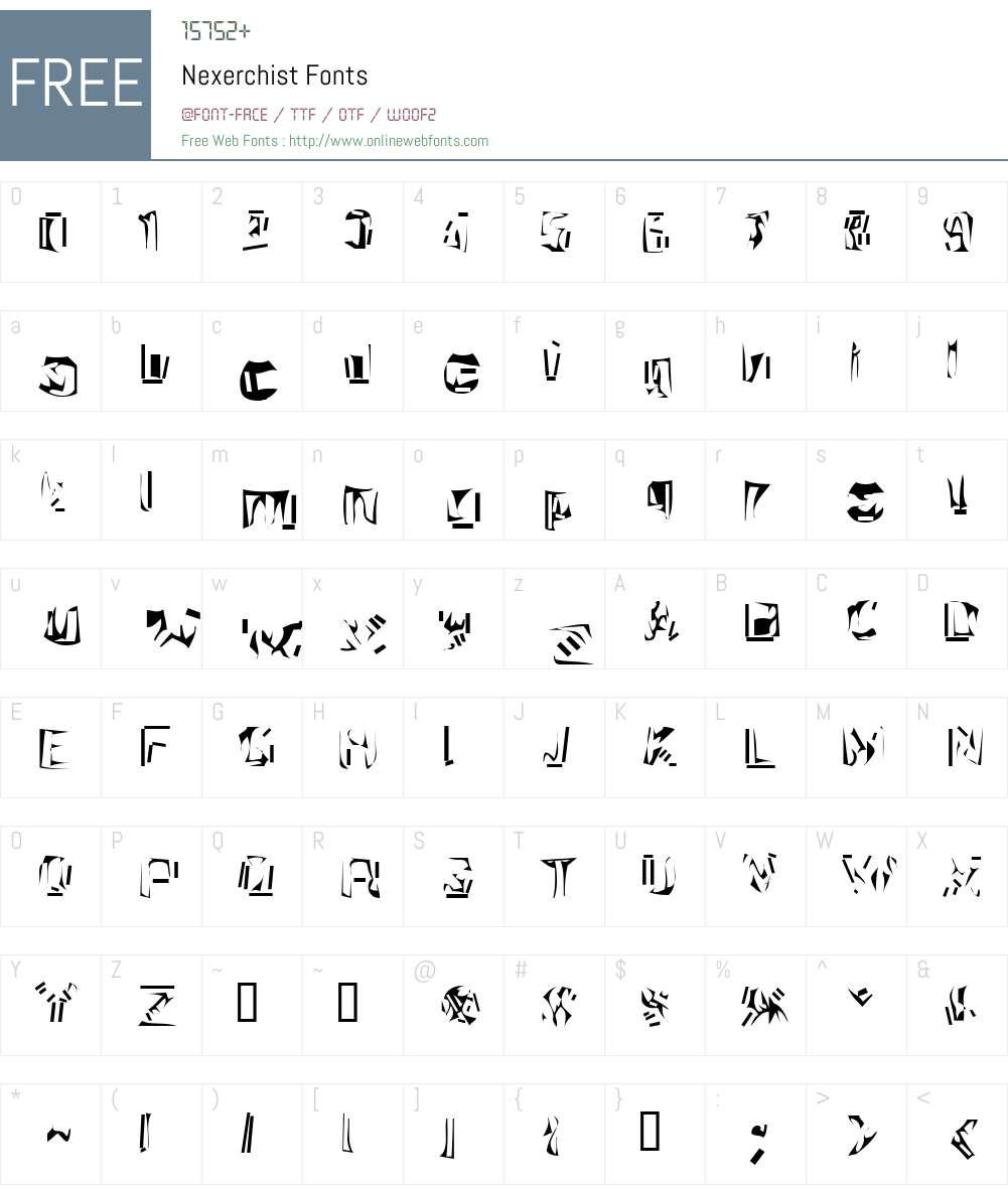 Nexerchist Font Screenshots