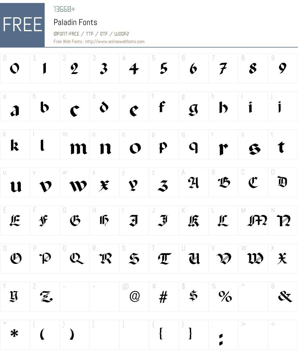 Paladin Font Screenshots
