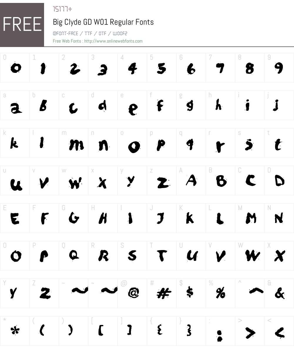 BigClydeGDW01-Regular Font Screenshots