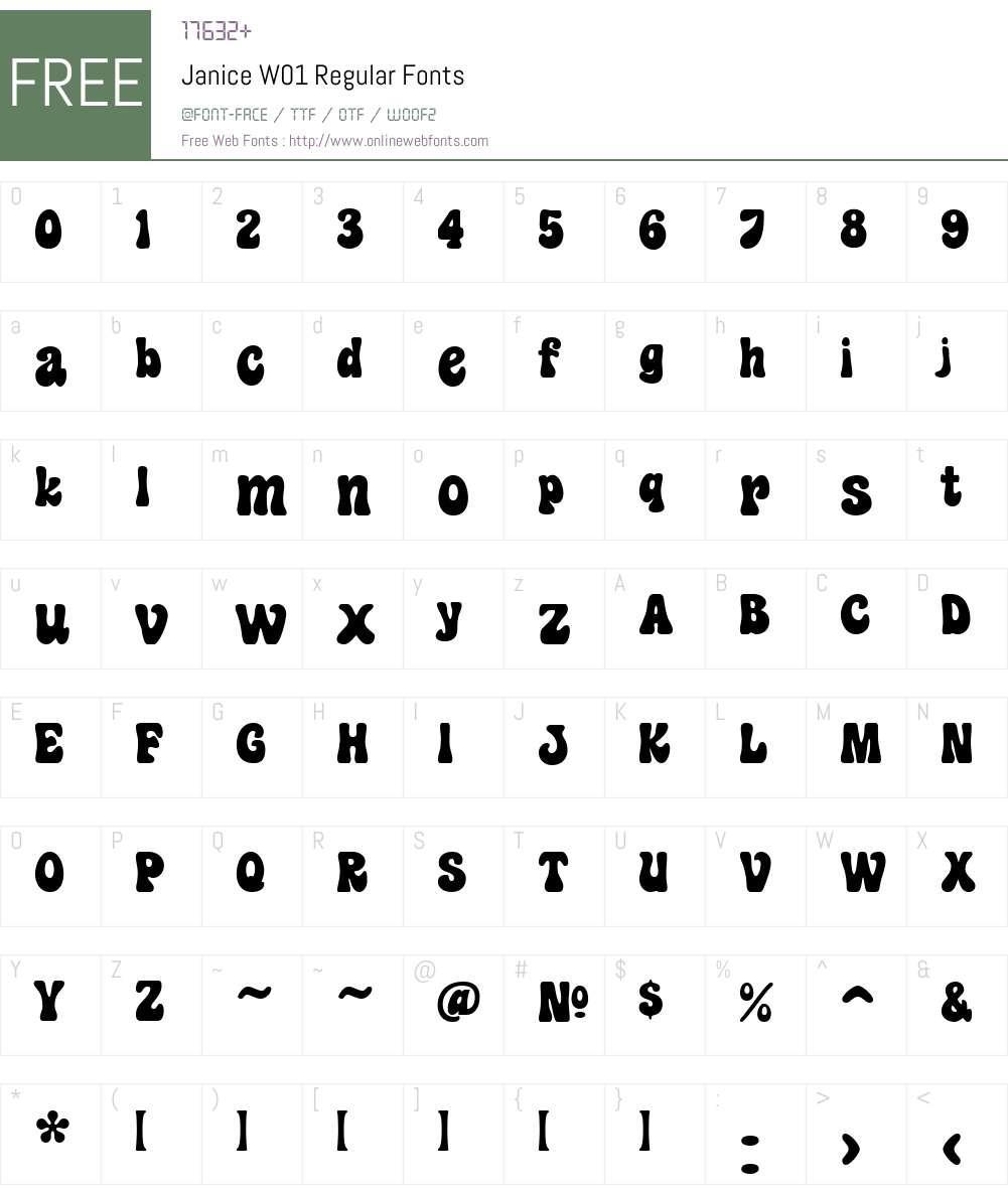 JaniceW01-Regular Font Screenshots