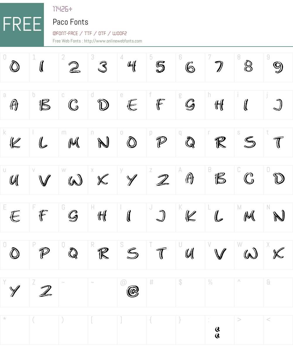 Paco Font Screenshots