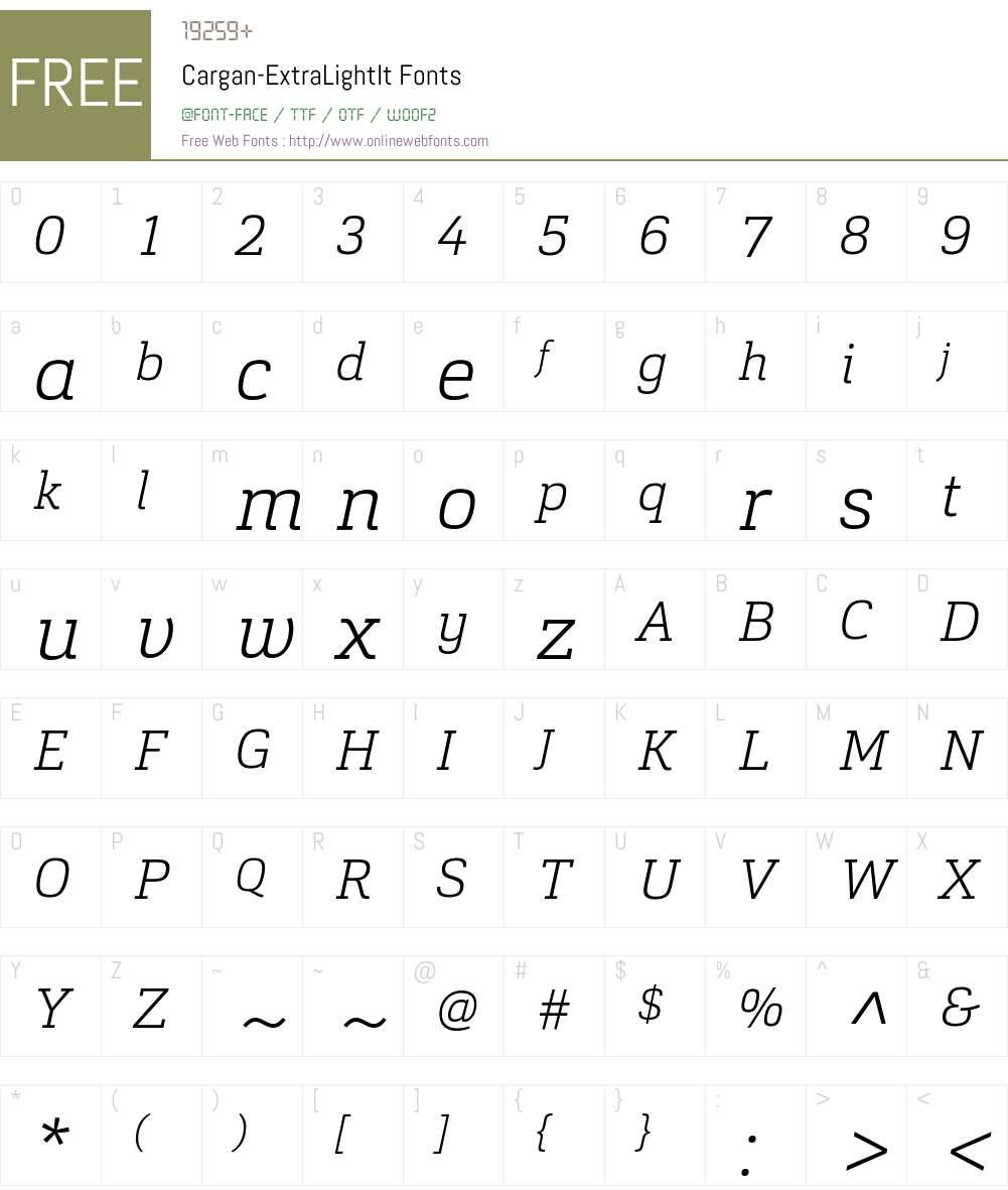 Cargan-ExtraLightIt Font Screenshots