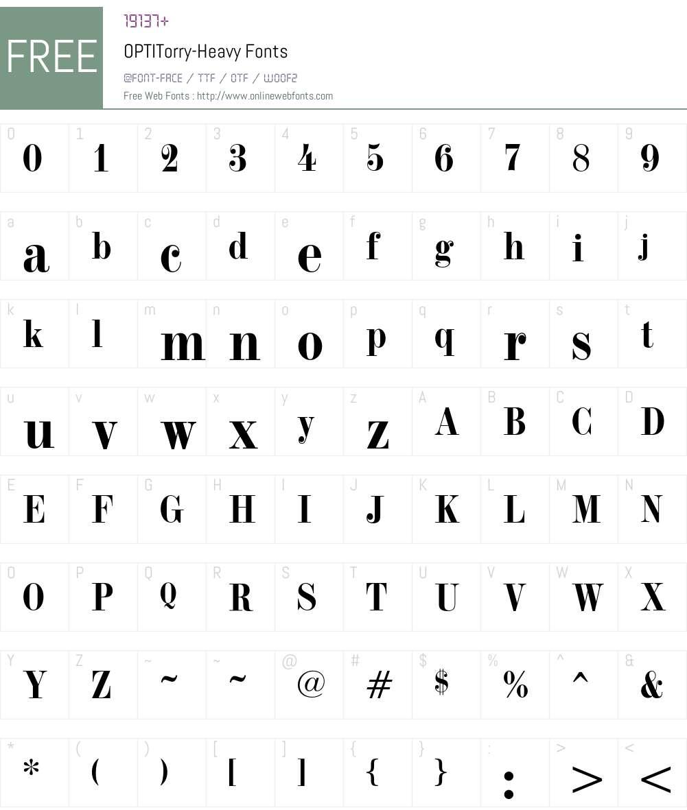 OPTITorry Font Screenshots