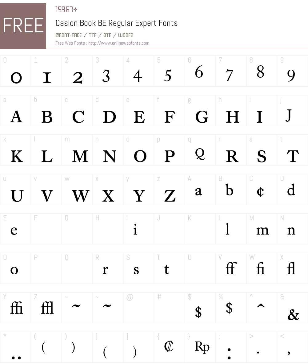 Caslon Book BE Font Screenshots