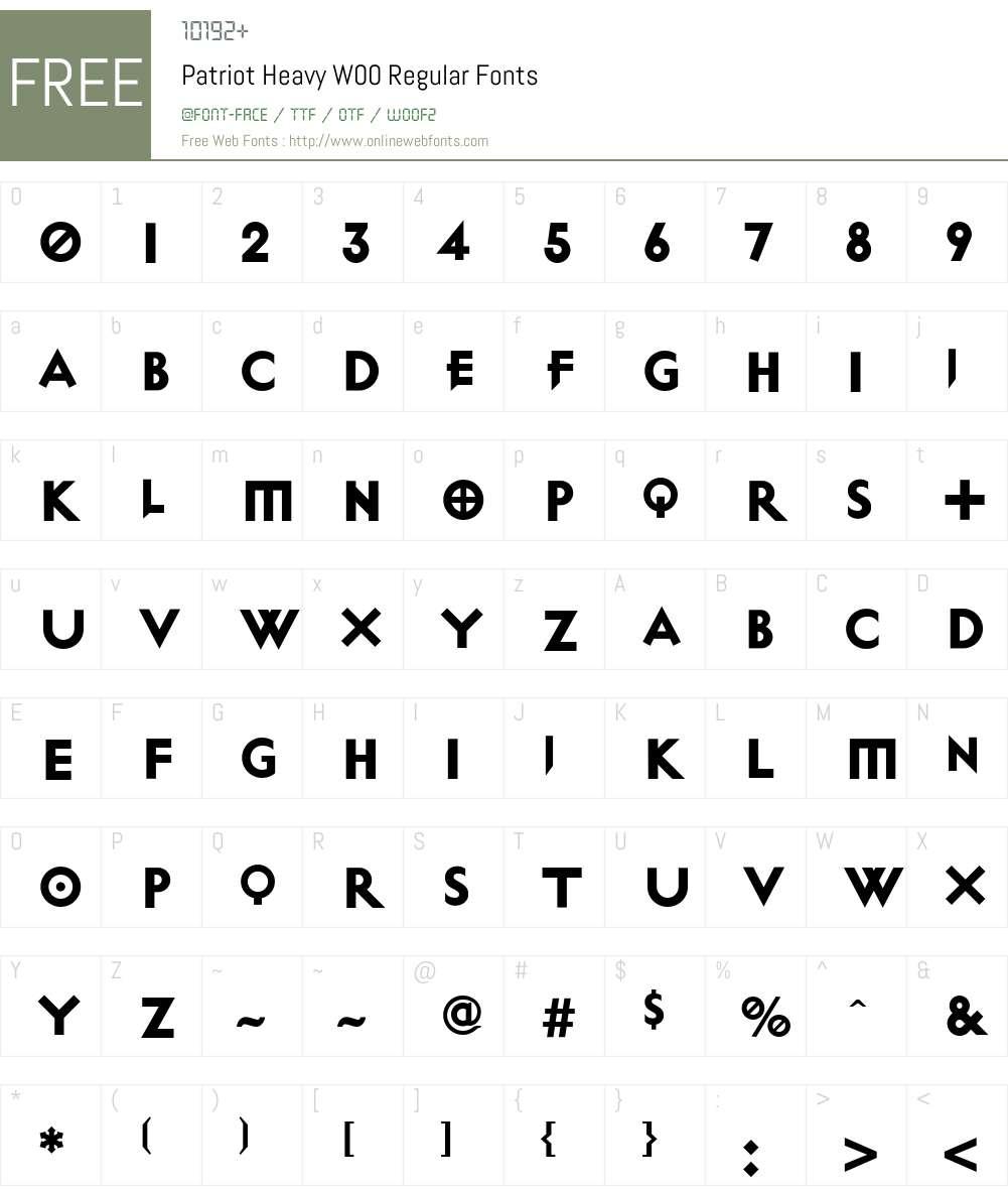 PatriotHeavyW00-Regular Font Screenshots