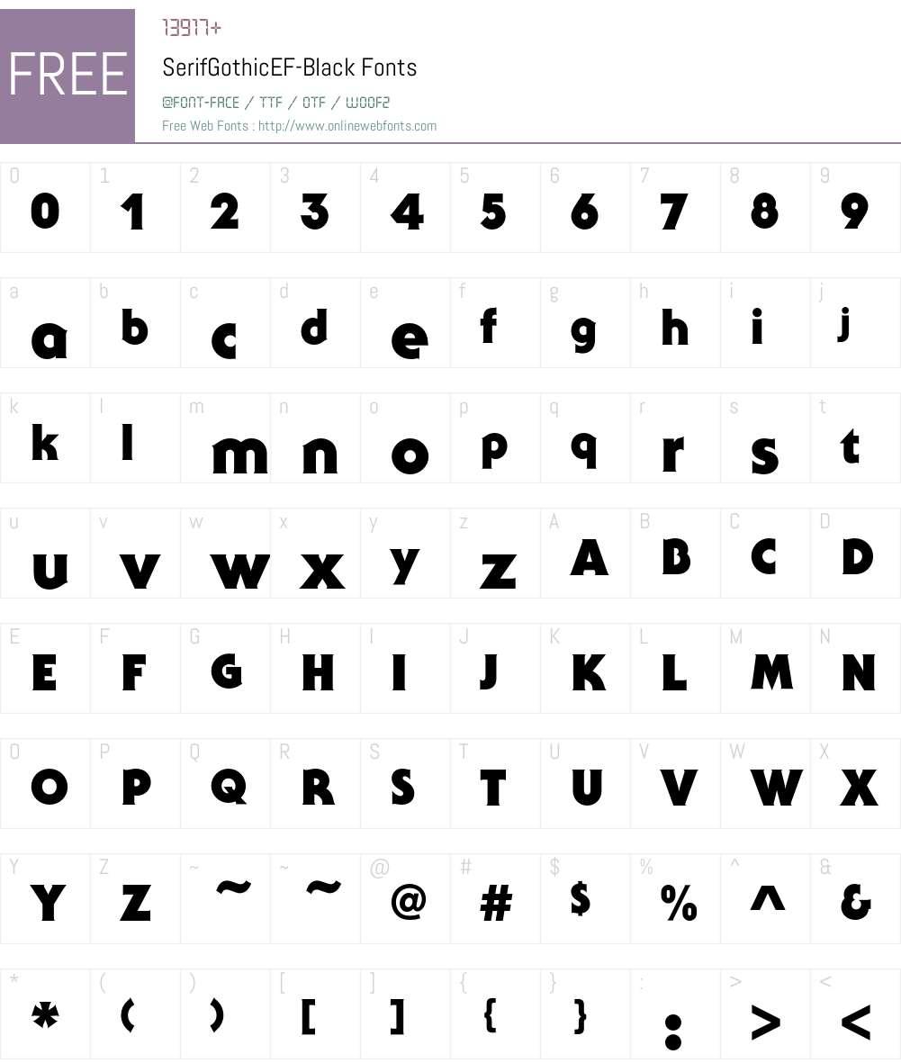 SerifGothicEF-Black Font Screenshots