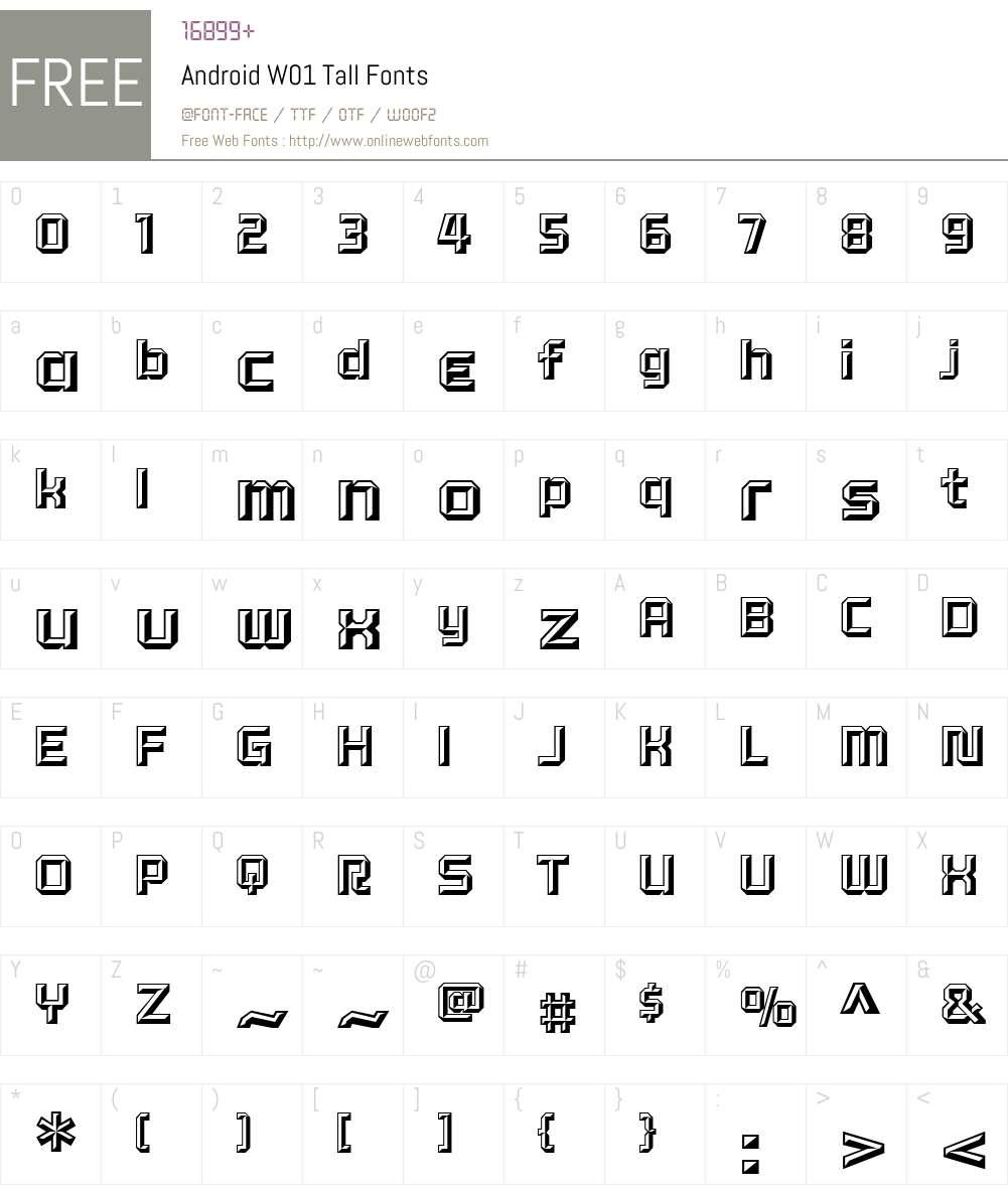 AndroidW01-Tall Font Screenshots