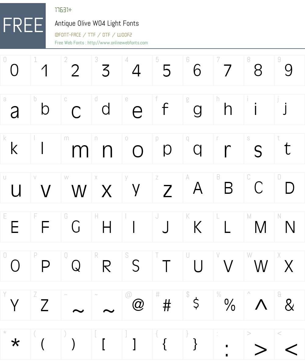 Antique Olive Font Screenshots