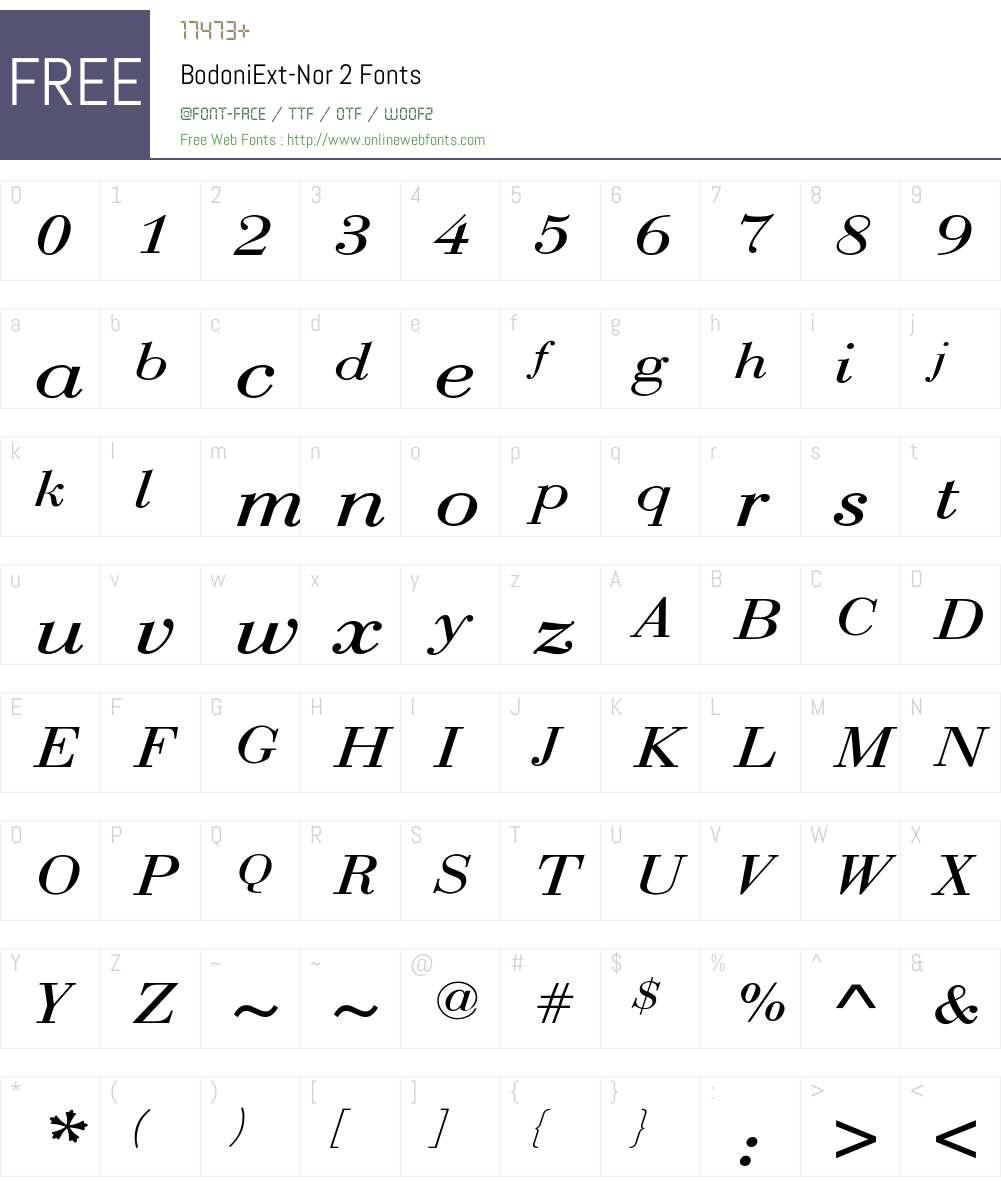 BodoniExt-Nor 2 Font Screenshots
