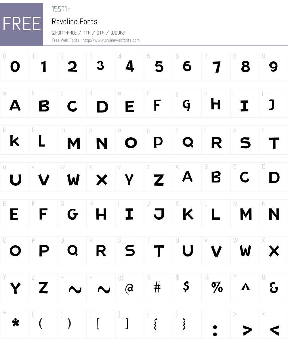Raveline Font Screenshots
