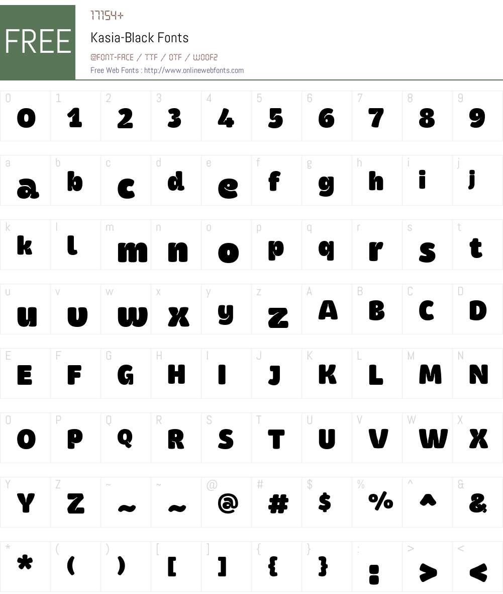 Kasia-Black Font Screenshots