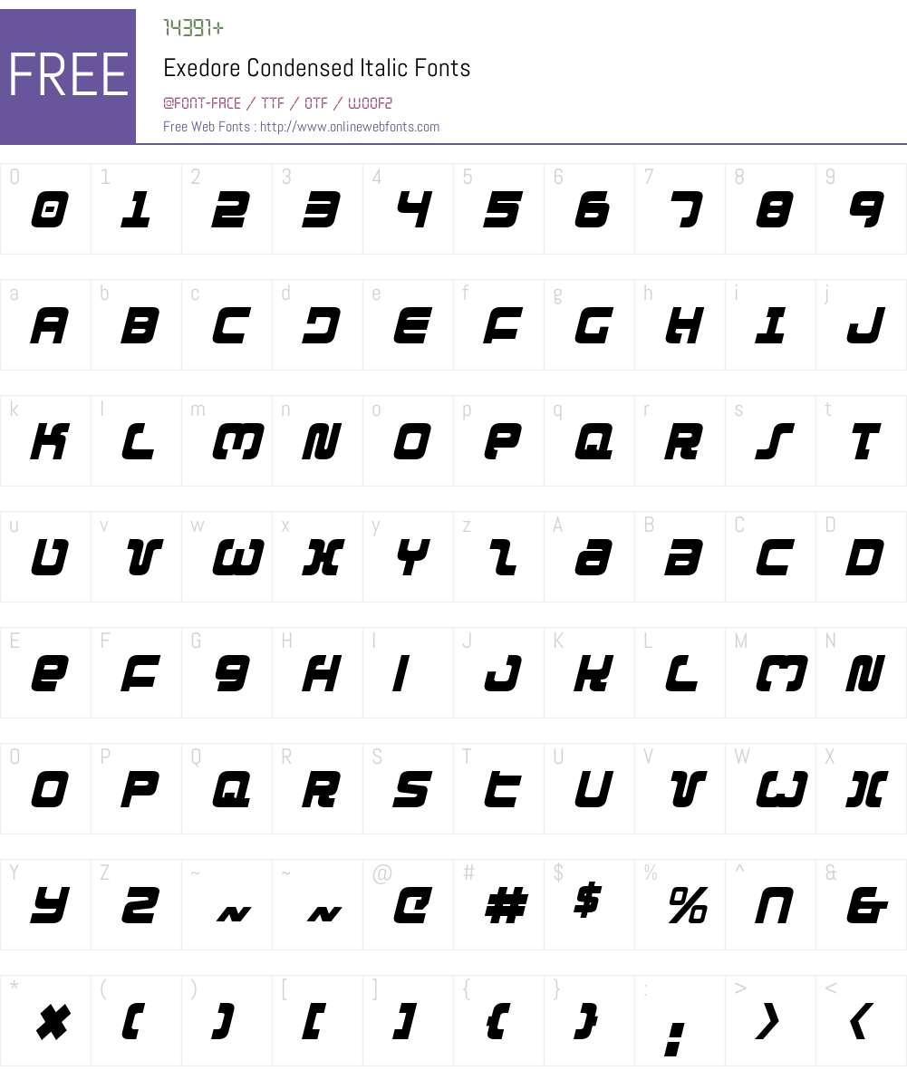 Exedore Condensed Italic Font Screenshots
