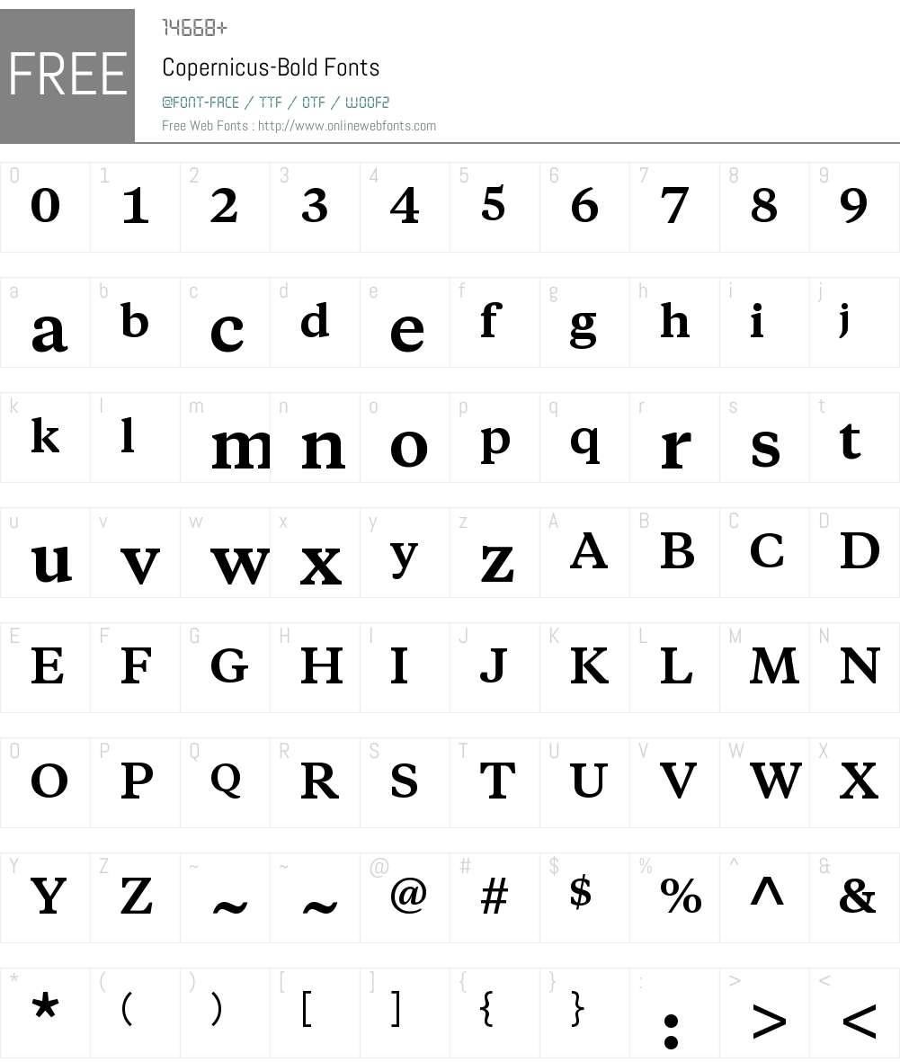 Copernicus Font Screenshots