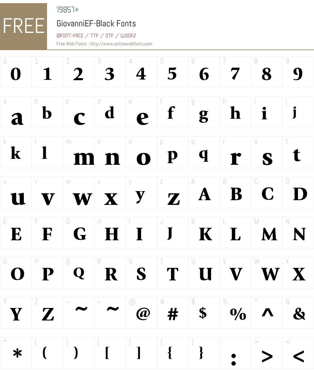 GiovanniEF Font Screenshots