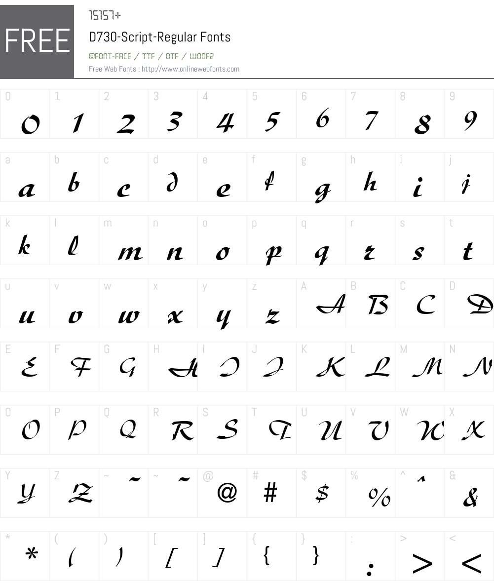 D730-Script Font Screenshots