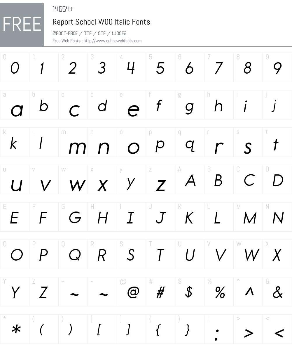 ReportSchoolW00-Italic Font Screenshots