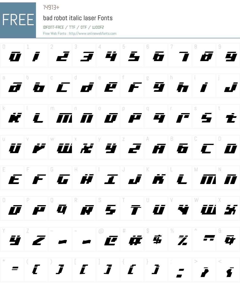 bad robot italic laser Font Screenshots