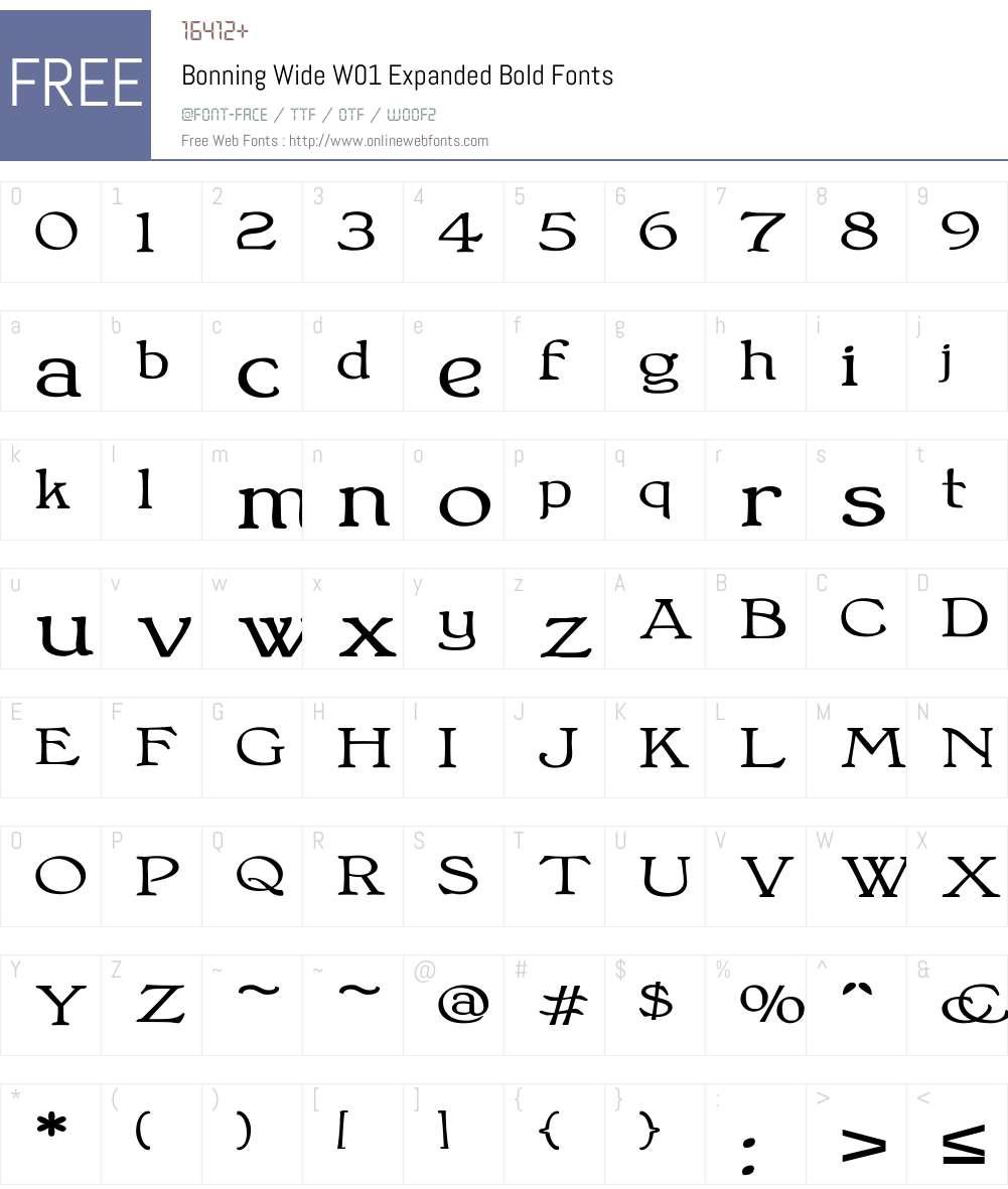 BonningWideW01-ExpandedBold Font Screenshots