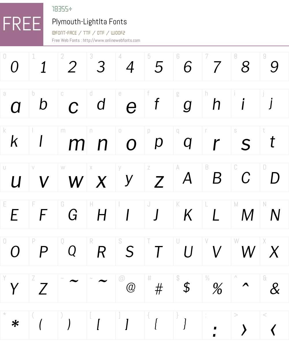 Plymouth-LightIta Font Screenshots