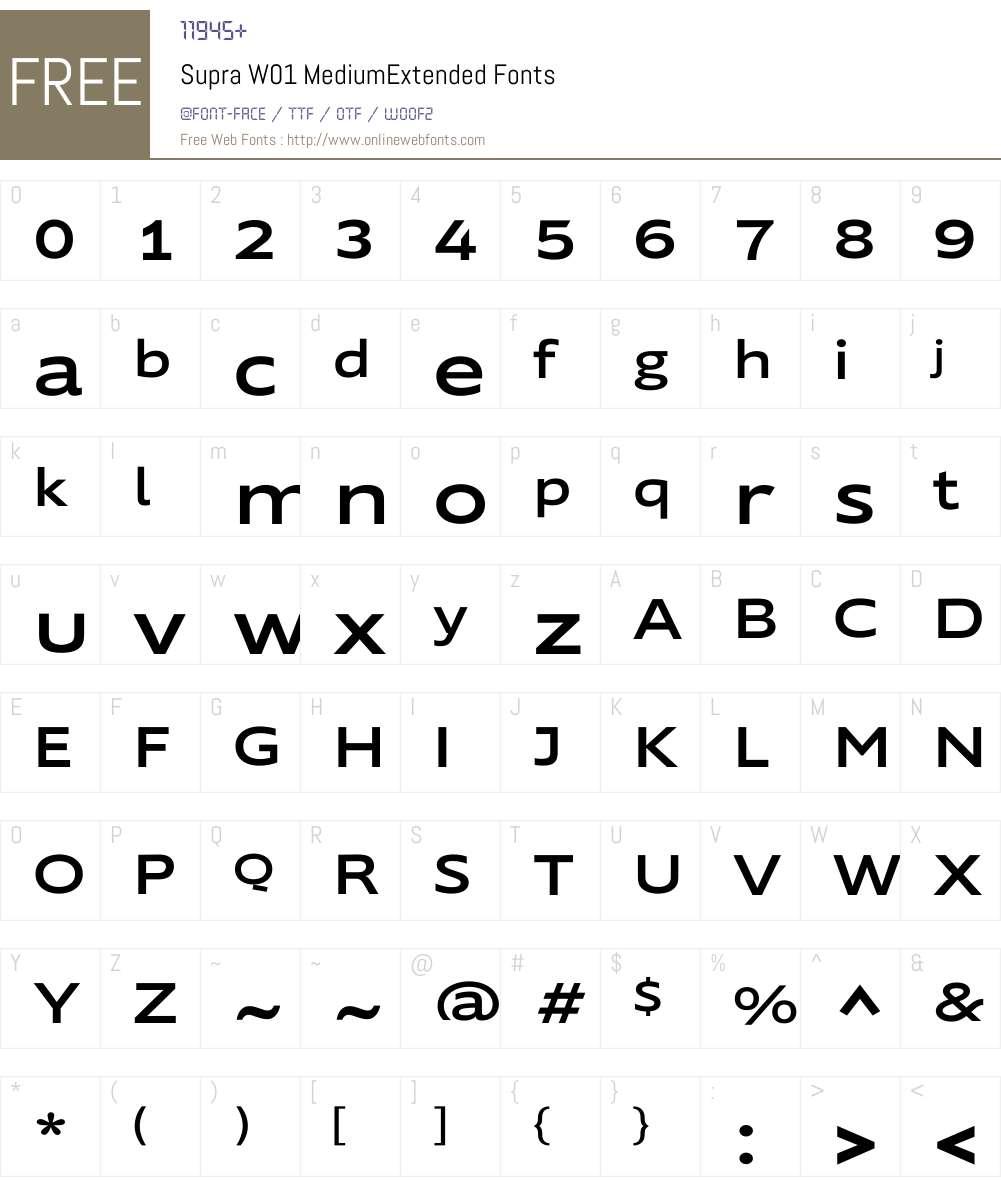SupraW01-MediumExtended Font Screenshots